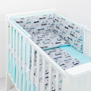 Bedding – Bunny Racers – Grey and Turquoise