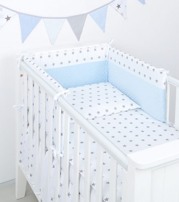 Bedding - Minky stars blue & white