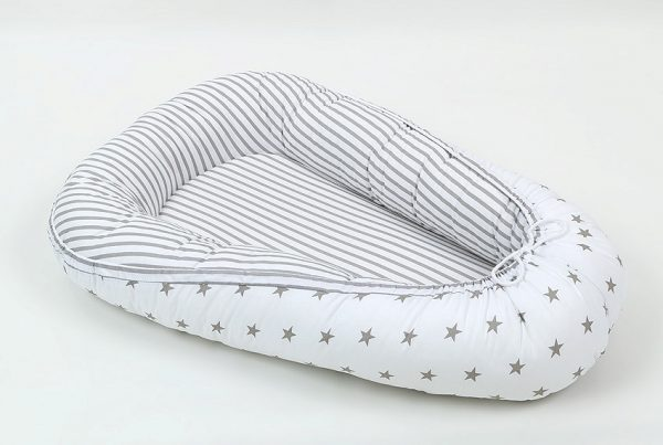 Cocoon – Grey and white with spots and stripes – Reversed