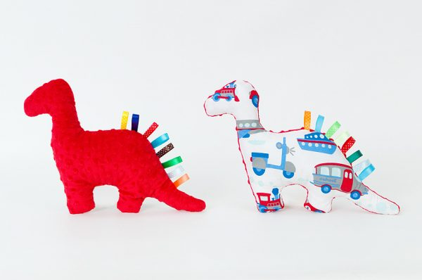 Dino Dinosaur Toy - Red With Cars-bikes