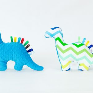 Dino Dinosaur Toy - Turquoise Wavy Lines