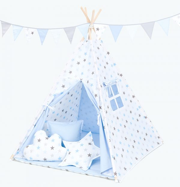 Teepee Tent – Grey and Blue Stars
