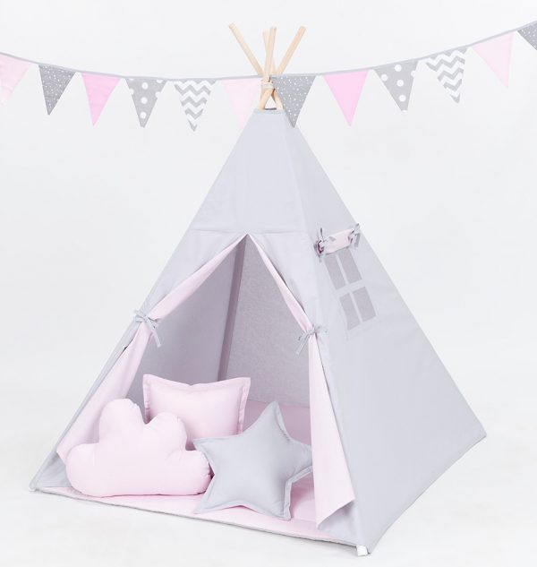 Teepee Tent –Grey and Pale Pink