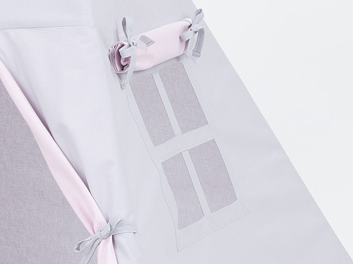 Teepee Tent –Grey and Pale Pink – Detail