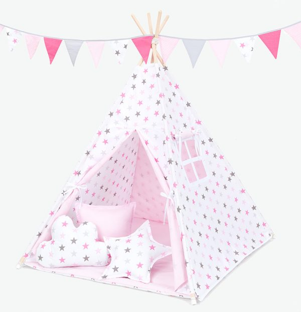 Teepee Tent – Grey and Pink Stars