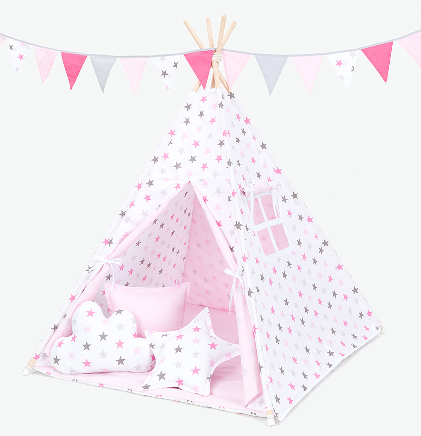 best service a1a46 f9e1c Total Teepee Experience – Grey and Pink Stars