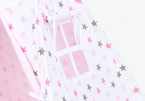 Teepee Tent – Grey and Pink Stars – Detail