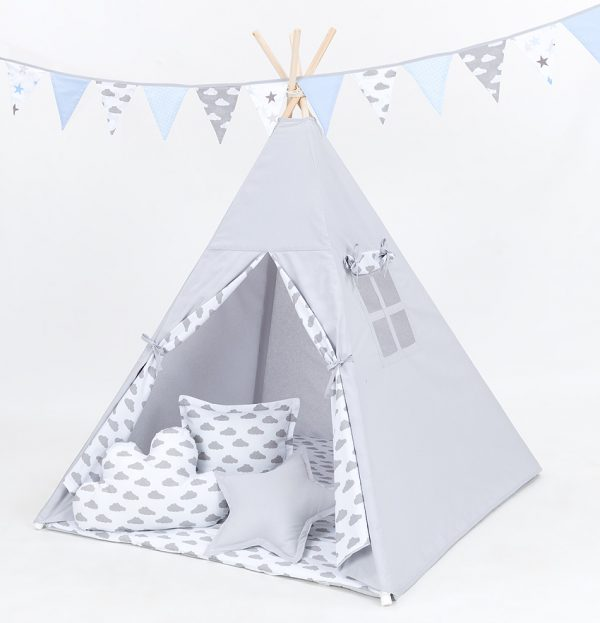 Teepee Tent – Grey and White Clouds