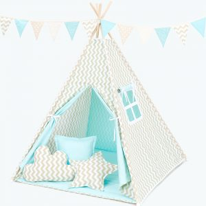Teepee Tent – Turquoise and Beige Zigzags
