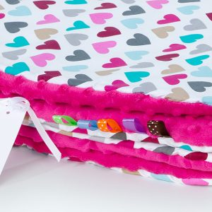 Comfy Cushion & Blanket Set - Dark Pink Multicolour Hearts