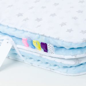 Comfy Cushion & Blanket Set - Pale Blue Grey Stars