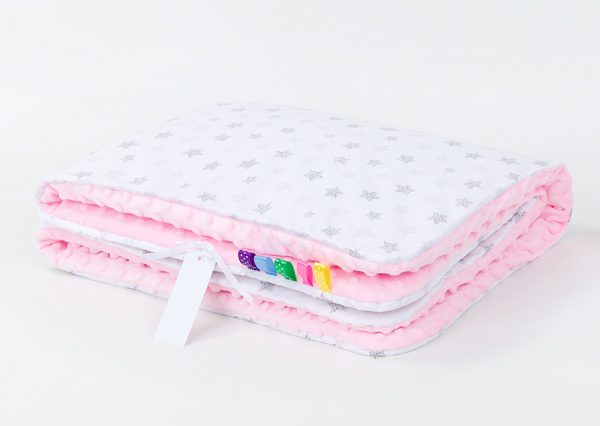 Comfy Cushion & Blanket Set - Pale Pink Grey Stars
